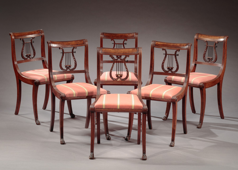 SET OF SIX LYRE BACK SIDE CHAIRS Attributed To The Workshop Of Duncan Phyfe